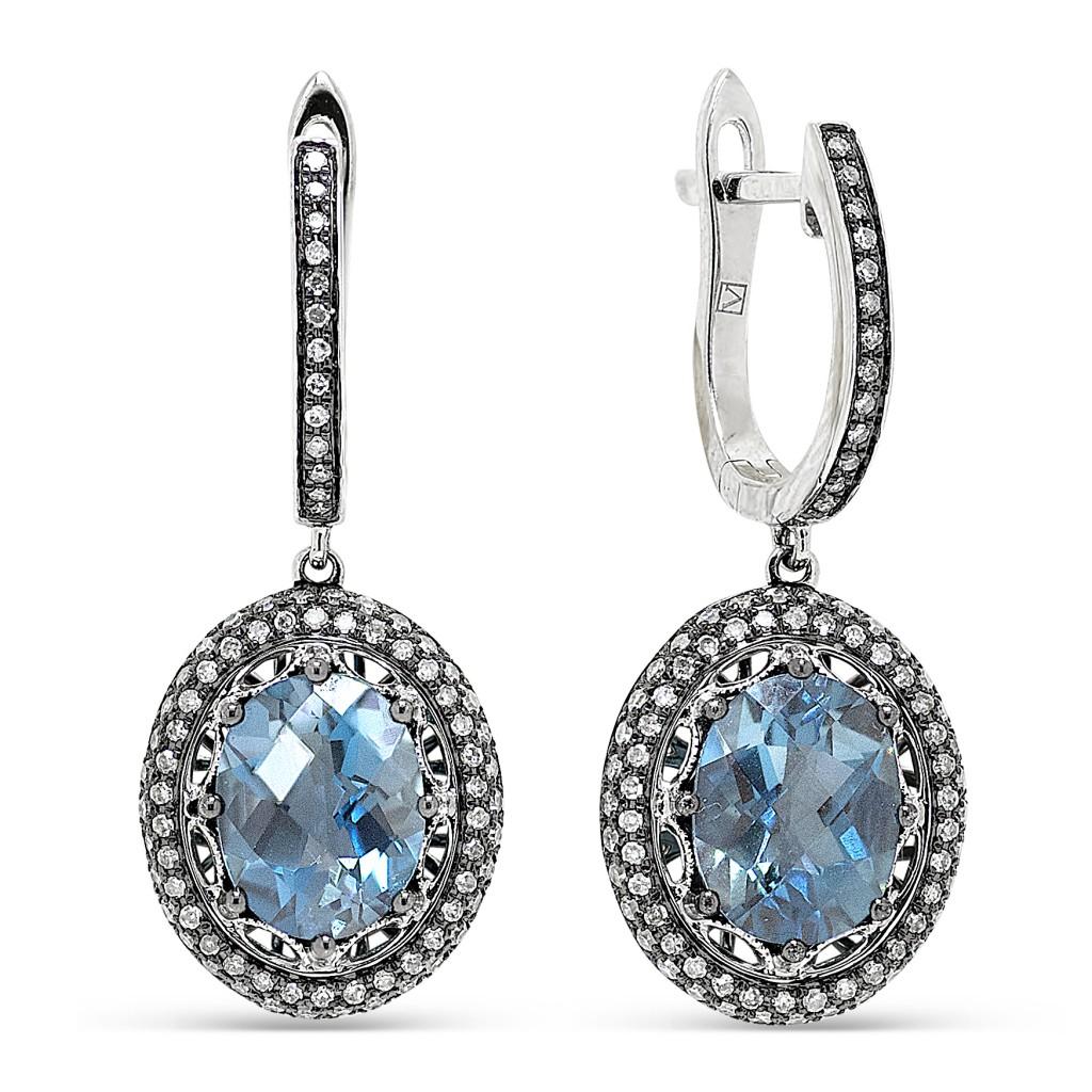 """Серьги с бриллиантами и топазом """"London Blue"""""""